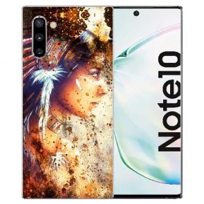 Samsung Galaxy Note 10 Silikonhülle mit Fotodruck Indianerin Porträt