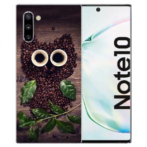 Samsung Galaxy Note 10 Silikonhülle TPU mit Fotodruck Kaffee Eule