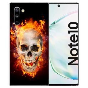 Samsung Galaxy Note 10 Silikonhülle mit Fotodruck Totenschädel Feuer