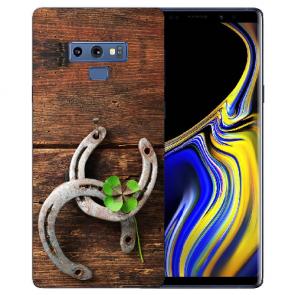 Samsung Galaxy Note 9 Silikon TPU Hülle mit Bilddruck Holz hufeisen