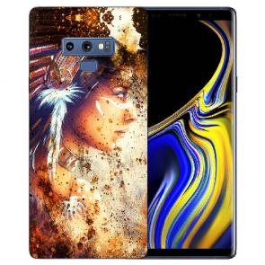 Samsung Galaxy Note 9 Silikon Hülle mit Bilddruck Indianerin Porträt