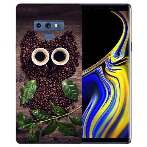 Samsung Galaxy Note 9 Silikon TPU Hülle mit Bilddruck Kaffee Eule