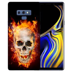 Samsung Galaxy Note 9 Silikon Hülle mit Bilddruck Totenschädel Feuer
