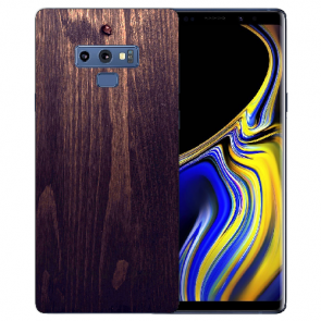 Samsung Galaxy Note 9 TPU Hülle mit Bilddruck HolzOptik Dunkelbraun