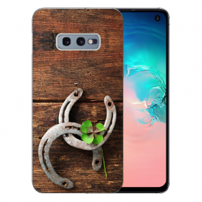 Samsung Galaxy S10e Silikon TPU mit Holz hufeisen Bilddruck Etui