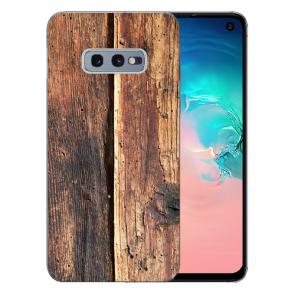 Samsung Galaxy S10e Silikon TPU Hülle mit Fotodruck HolzOptik