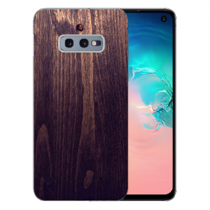 Samsung Galaxy S10e Silikon TPU mit Fotodruck HolzOptik Dunkelbraun