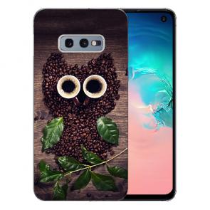 Samsung Galaxy S10e Silikon TPU mit Bilddruck Kaffee Eule Etui