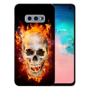 Silikon TPU mit Bilddruck Totenschädel Feuer für  Samsung Galaxy S10e