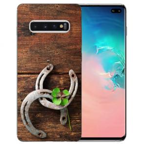 Samsung Galaxy S10 TPU-Silikon Hülle mit Fotodruck Holz hufeisen