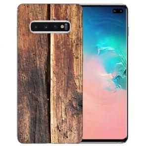 Samsung Galaxy S10 Plus Silikon TPU mit Fotodruck HolzOptik