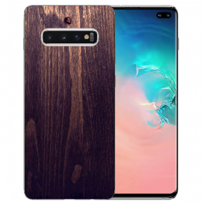 Samsung Galaxy S10 TPU-Silikon Hülle mit Fotodruck HolzOptik Dunkelbraun