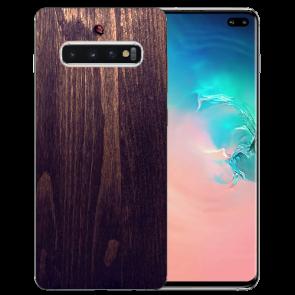 Samsung Galaxy S10 Plus Silikon TPU mit Fotodruck HolzOptik Dunkelbraun