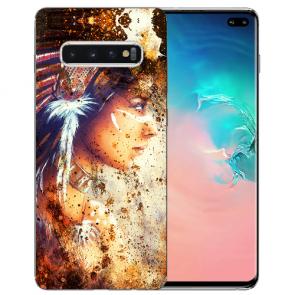 Samsung Galaxy S10 Plus Silikon TPU mit Indianerin Porträt Fotodruck