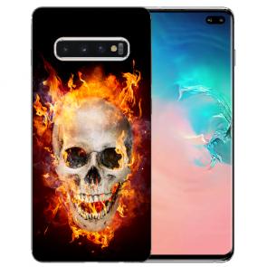 Samsung Galaxy S10 TPU-Silikon Hülle mit Totenschädel Feuer Fotodruck