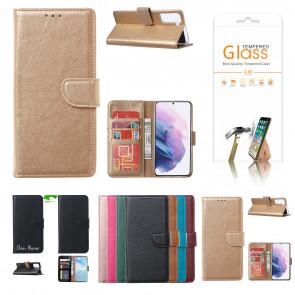 Samsung Galaxy S21 Handy Schutzhülle mit Displayschutz Glas in Gold