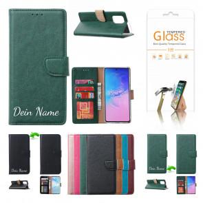 Schutzhülle für Galaxy A21s mit Namensdruck und Displayschutz Glas Grün