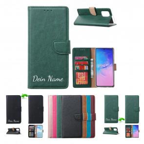 Samsung Galaxy S21 Handy Schutzhülle Tasche mit Namensdruck in Grün Etui