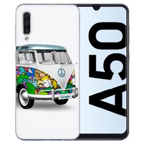 Silikon TPU Hülle mit Fotodruck Hippie Bus für Samsung Galaxy A50s