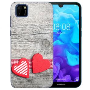 Huawei Y5P (2020) TPU Hülle mit Fotodruck Herzen auf Holz Etui