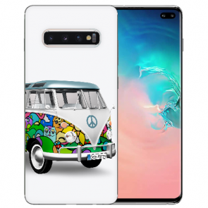 Samsung Galaxy S10 Plus Silikon TPU mit Fotodruck Hippie Bus Etui