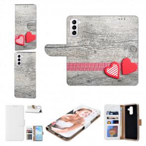 Handyhülle mit Bilddruck Herzen auf Holz für Samsung Galaxy S21 Plus