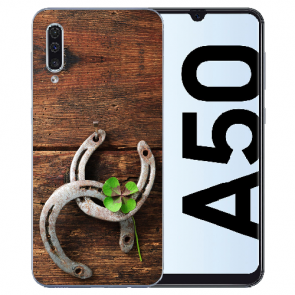 Samsung Galaxy A50s Silikon TPU Hülle mit Bilddruck Holz hufeisen