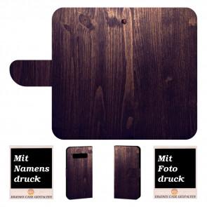 Samsung Galaxy S10 Schutzhülle Handyhülle mit Holz Optik + Fotodruck