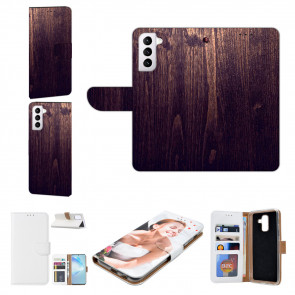 Samsung Galaxy S21 Plus Handyhülle mit Bilddruck Holzoptik Dunkelbraun