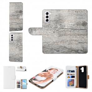 Samsung Galaxy S21 Plus Handy Hülle mit Bilddruck Holzoptik Grau