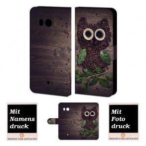 HTC U11 Individuelle Personalisiert Tasche mit Bilddruck Kaffee Eule