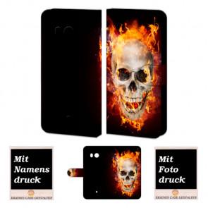Schutzhülle Handy mit Totenschädel - Feuer Bilddruck für HTC U11