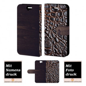 HTC One A9 Croco-Holz Optik Handy Tasche Hülle Foto Bild Druck