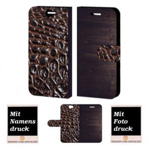 HTC One A9 Holz-croco Optik Handy Tasche Hülle Foto Bild Druck