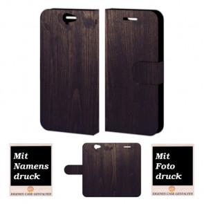 HTC One A9 Schutzhülle Handy Tasche mit Holz Optik Bild Druck