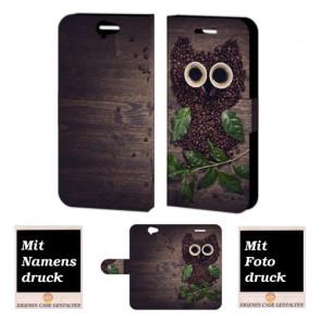 HTC One A9 Handy Tasche Hülle mit Kaffee Eule Foto Druck