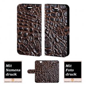 HTC One A9 Krokodil Optik Handy Tasche Hülle Foto Bild Druck