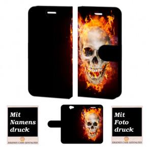 HTC One A9 Totenschädel Feuer Handy Tasche Hülle mit Bild Druck