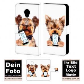 Ledertasche Handyhülle für HTC Desire 700 mit Fotodruck Text