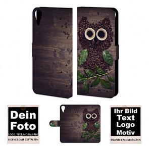 Ledertasche für HTC Desire 825 mit Foto und Text zum selbst gestalten