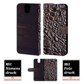 HTC One E9 Plus Croco-Holz Optik Handy Tasche Hülle Foto Bild Druck