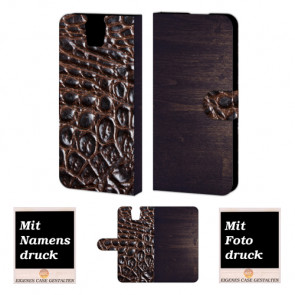 HTC One E9 Plus Holz-croco Optik Handy Tasche Hülle Foto Bild Druck