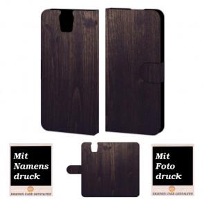 HTC One E9 Plus Holz Optik Handy Tasche Hülle Foto Bild Druck