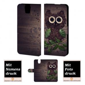 HTC One E9 Plus Kaffee Eule Handy Tasche Hülle Foto Bild Druck