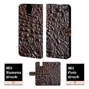 HTC One E9 Plus Krokodil Optik Handy Tasche Hülle Foto Bild Druck