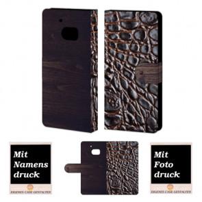 HTC M10 croco - Holz Optik Handy Tasche Hülle Foto Bild Druck