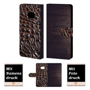 HTC M10 Holz - Croco Optik Handy Tasche Hülle Foto Bild Druck