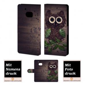 HTC M10 Kaffee Eule Handy Tasche Hülle Foto Bild Druck