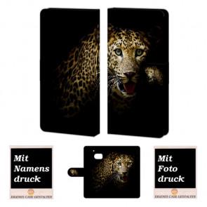 HTC M10 Handy Tasche Hülle mit Leopard + Fotodruck