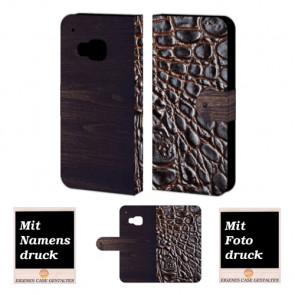 HTC One M9 Croco-Holz Optik Handy Tasche Hülle Foto Bild Druck